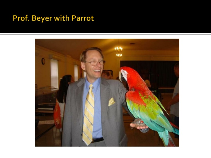 Prof. Beyer with Parrot