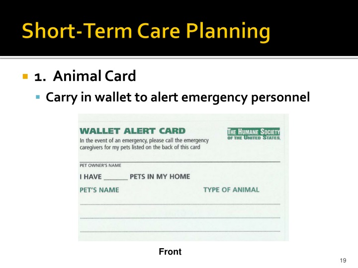 Short-Term Care Planning