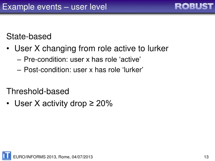 Example events – user level
