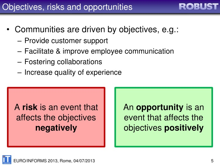 Objectives, risks and opportunities