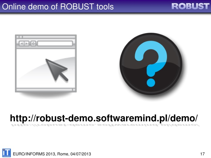 Online demo of ROBUST tools