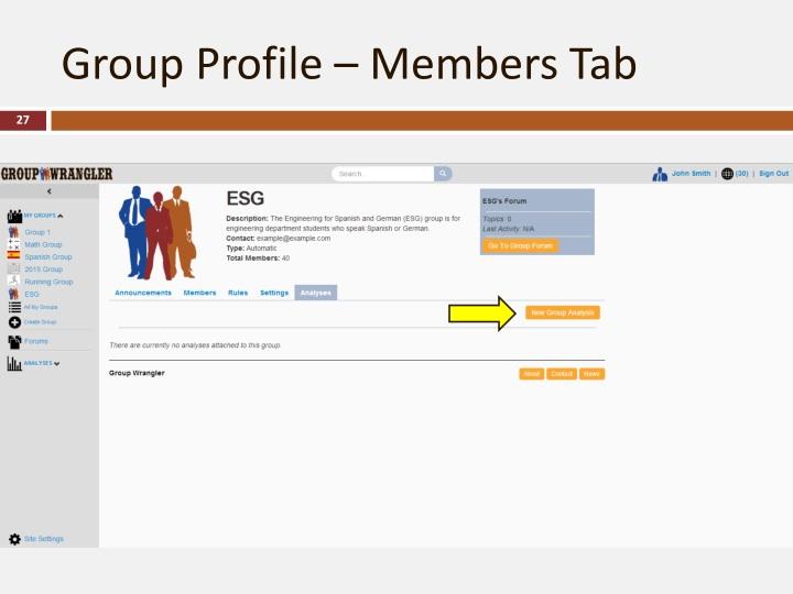 Group Profile – Members Tab