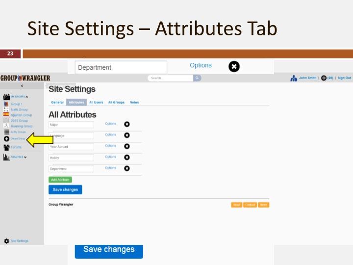 Site Settings – Attributes Tab