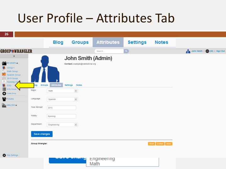 User Profile – Attributes Tab