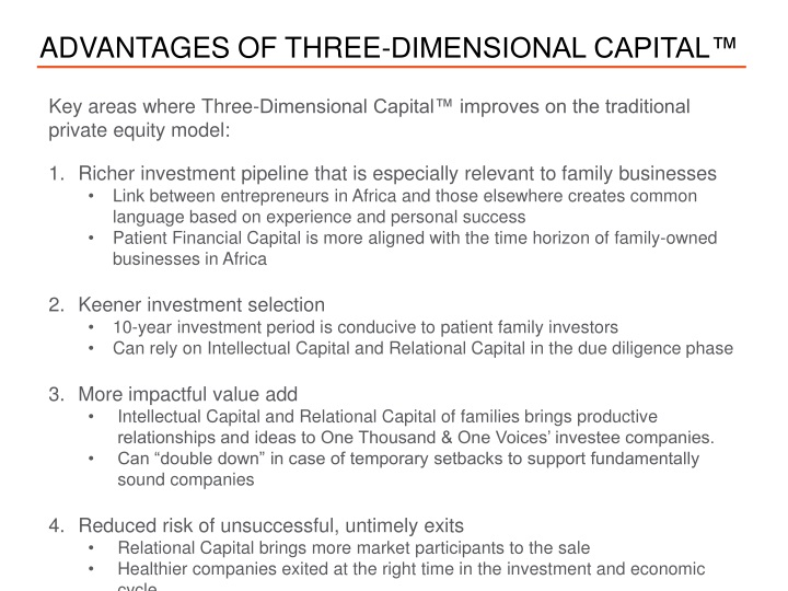Advantages of three dimensional capital
