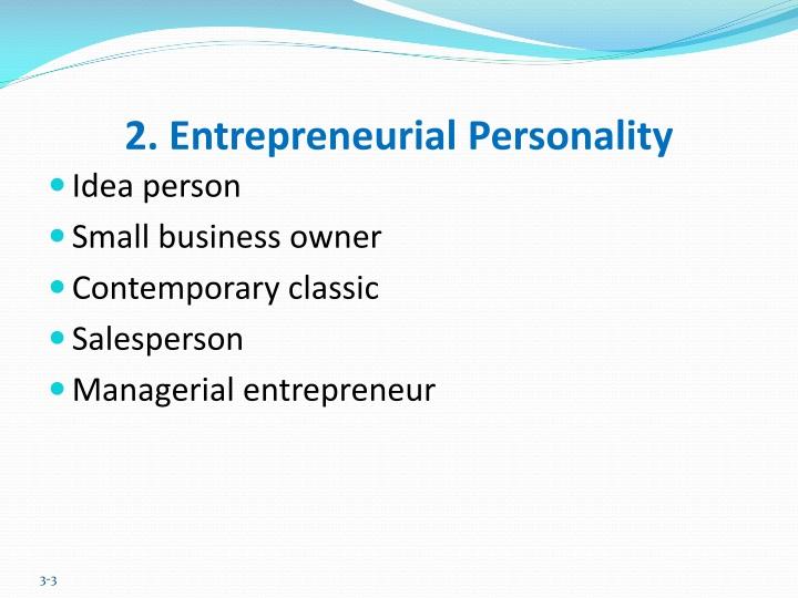 2. Entrepreneurial Personality