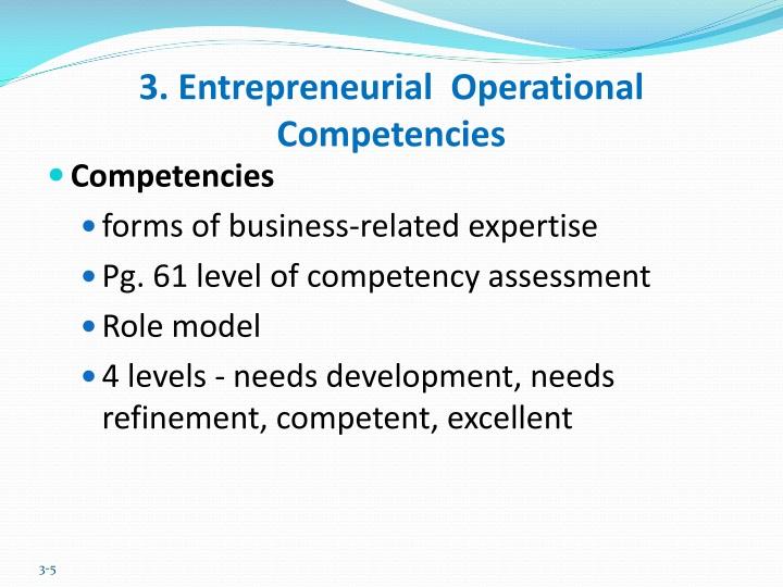 3. Entrepreneurial  Operational Competencies