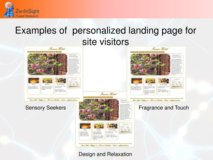 Examples of  personalized landing page for site visitors