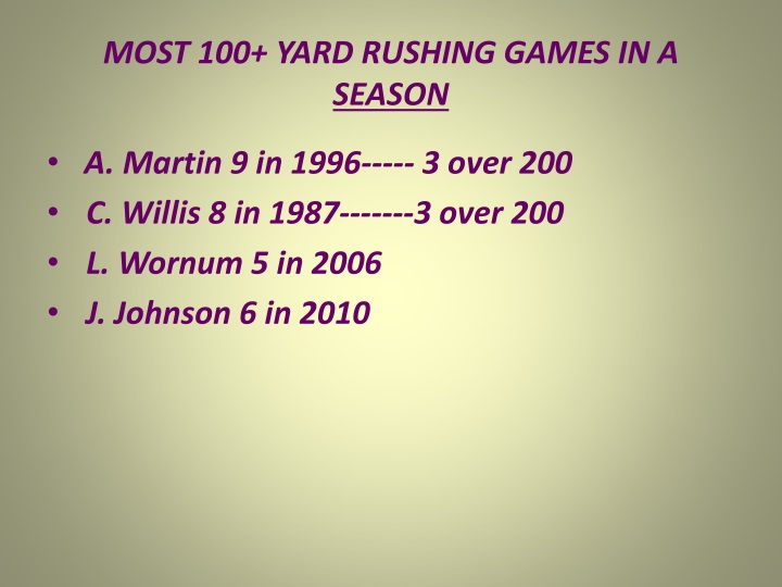 MOST 100+ YARD RUSHING GAMES IN A