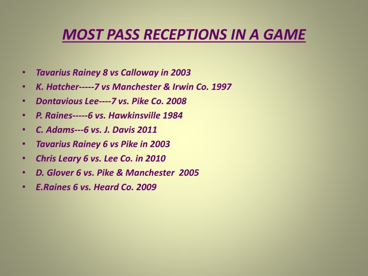 MOST PASS RECEPTIONS IN A GAME