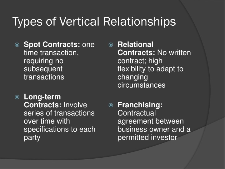 Types of Vertical Relationships