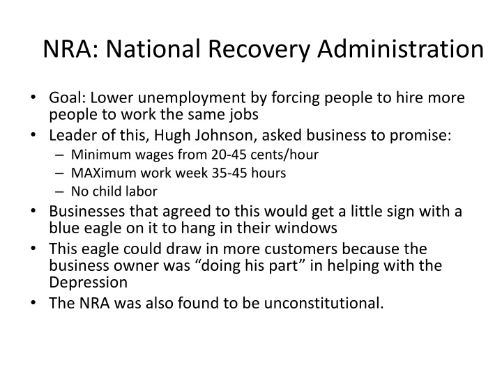 essay about national recovery administration