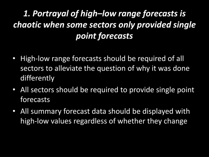 1. Portrayal of high–low range forecasts is chaotic when some sectors only provided single point f...