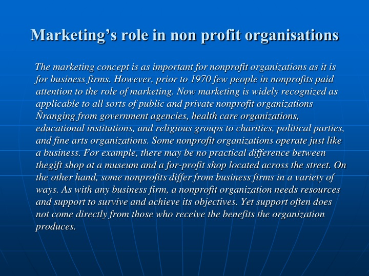 Marketing's role in non profit organisations