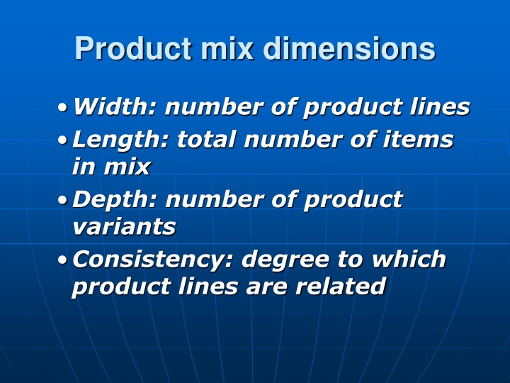 Product mix dimensions