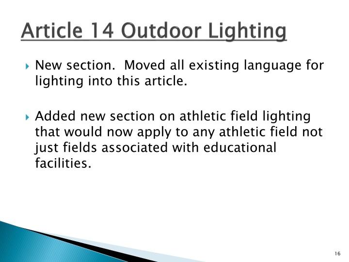 Article 14 Outdoor Lighting