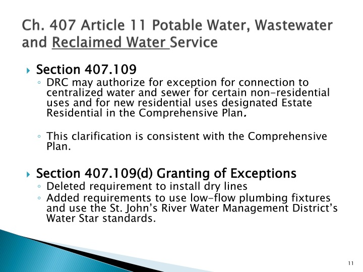 Ch. 407 Article 11 Potable Water, Wastewater and