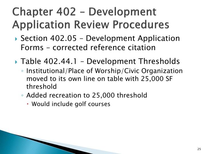 Chapter 402 – Development Application Review Procedures