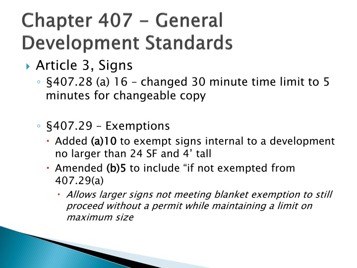 Chapter 407 - General Development Standards