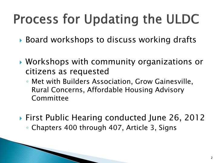 Process for updating the uldc