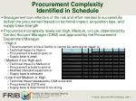 procurement complexity identified in schedule