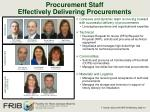 procurement staff effectively delivering procurements