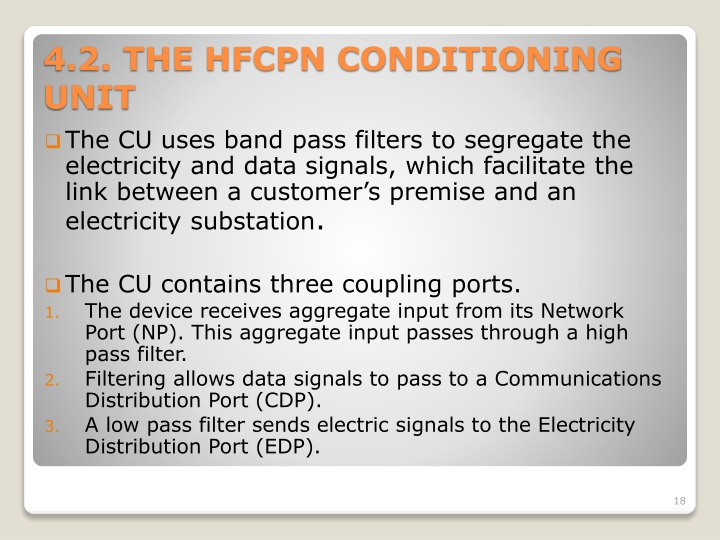 The CU uses band pass filters to segregate the electricity and data signals, which facilitate the link between a customer's premise and an electricity substation