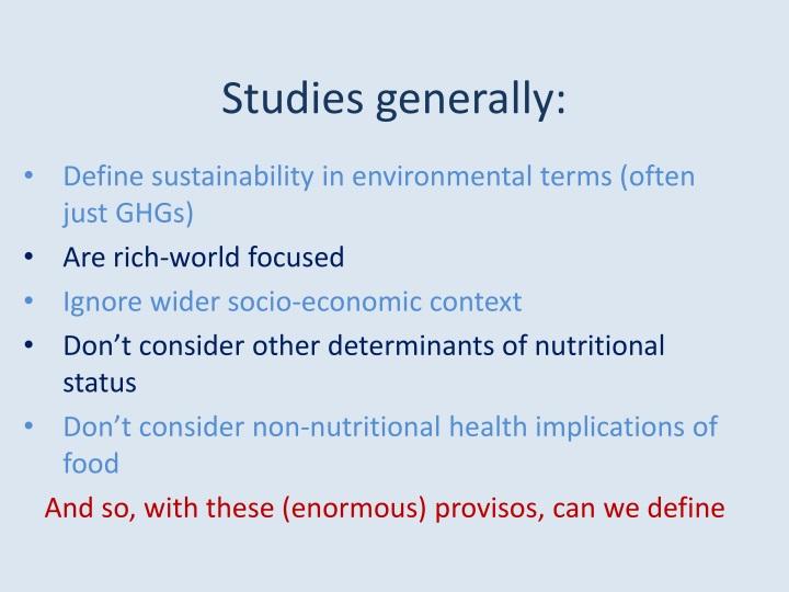 Studies generally: