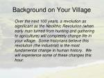 background on your village5