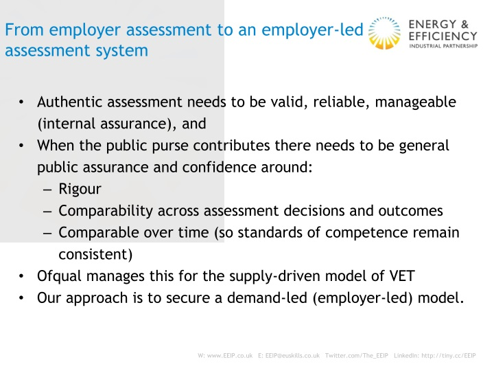 From employer assessment to an employer-led assessment system