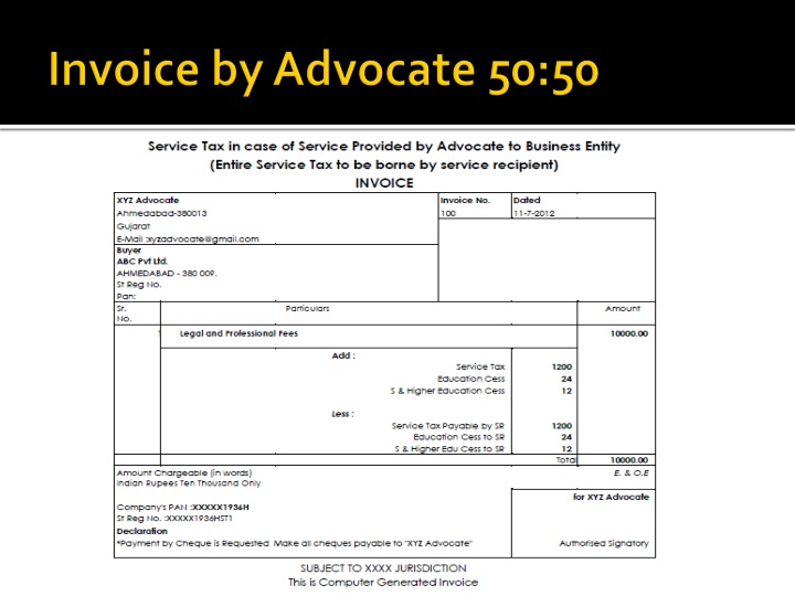 Invoice by Advocate 50:50