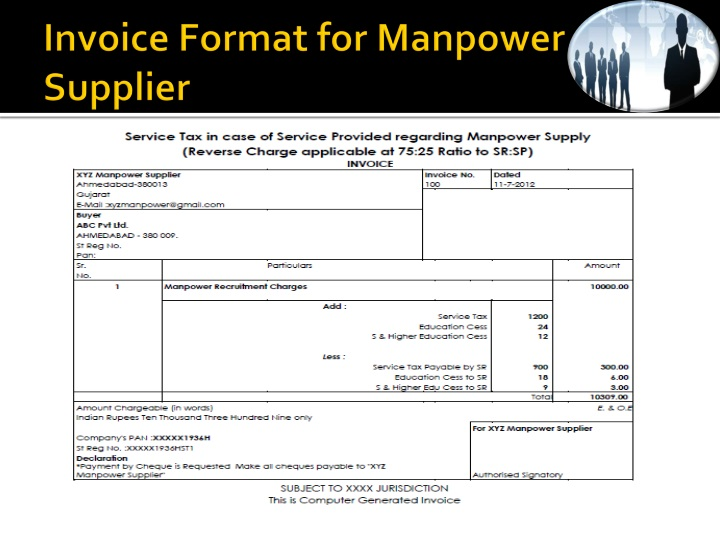 Invoice Format for Manpower Supplier