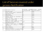 list of services covered under 30 2012 notification