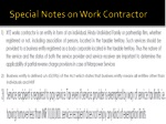 special notes on work contractor
