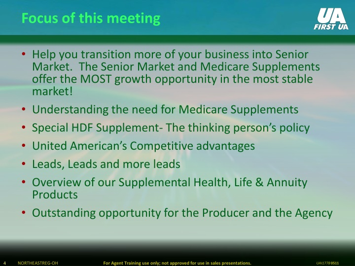 Focus of this meeting