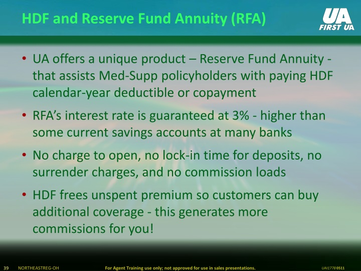 HDF and Reserve Fund Annuity (RFA)