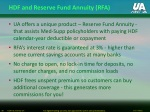 hdf and reserve fund annuity rfa