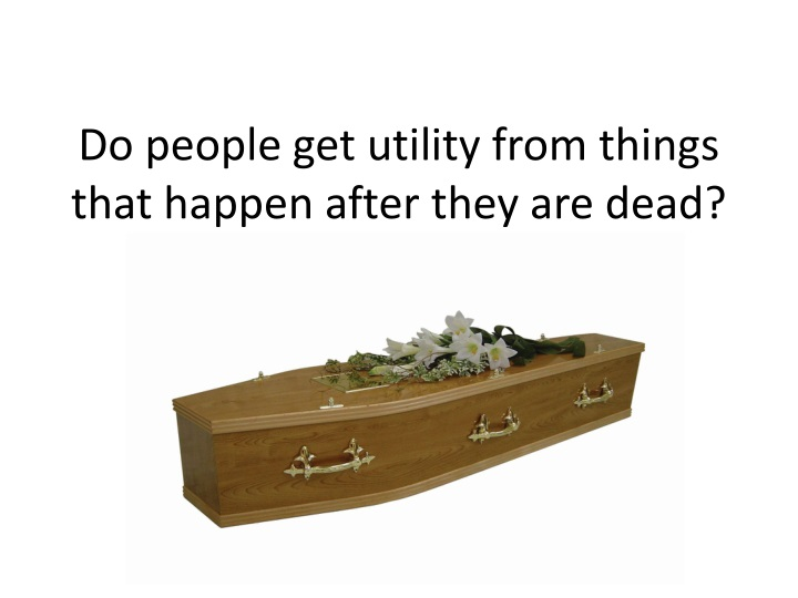 Do people get utility from things that happen after they are dead?