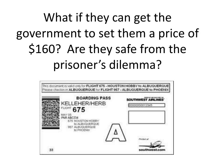 What if they can get the government to set them a price of $160?  Are they safe from the prisoner's dilemma?