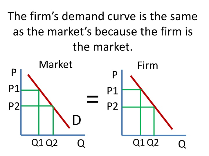 The firm's demand curve is the same as the market's because the firm is the market.