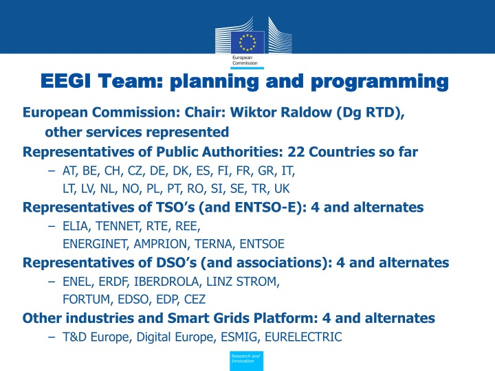 EEGI Team: planning and programming