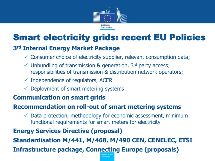Smart electricity grids: recent EU Policies