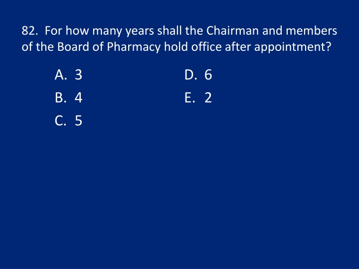 82.  For how many years shall the Chairman and members of the Board of Pharmacy hold office after appointment?