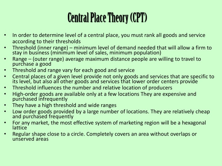 Central Place Theory (CPT)