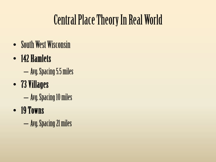 Central Place Theory In Real World