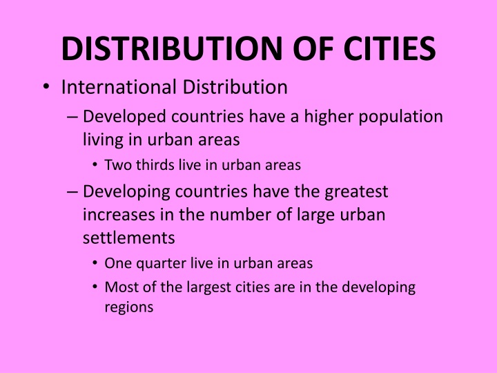 DISTRIBUTION OF CITIES