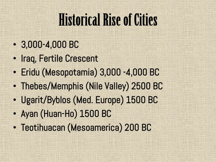 Historical Rise of Cities