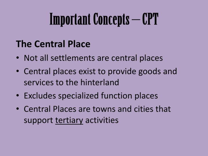 Important Concepts – CPT
