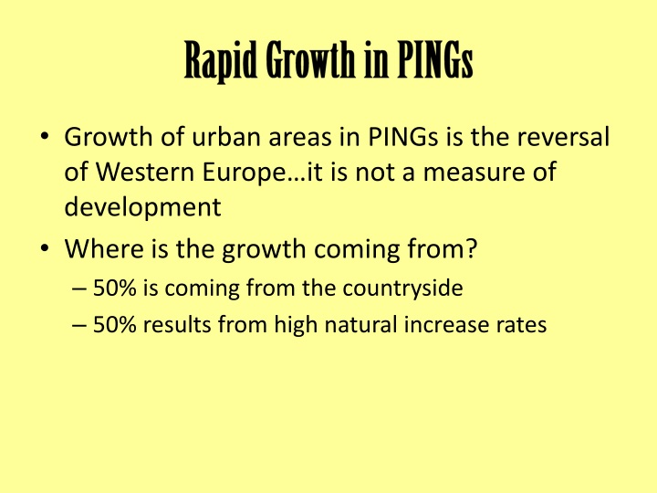 Rapid Growth in PINGs