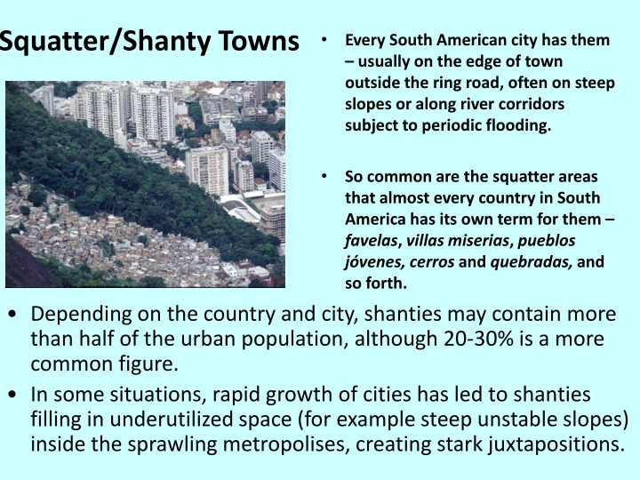 Squatter/Shanty Towns